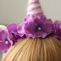Floral Unicorn Headband with Unicorn Ears