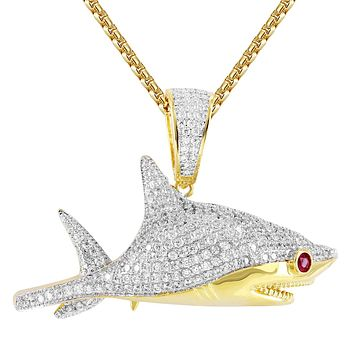 Great Shark Micro Pave Created Ruby Eyes Bling Hip Hop Pendant