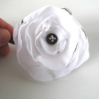 Black and White Snap Clip, Organza Poppy Flower