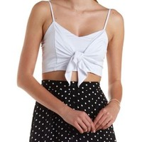 White Cropped & Knotted Tank Top by Charlotte Russe