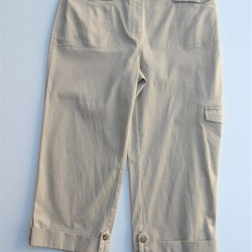 Charter Club Stretch Cotton Katherine Fit Adjustable Cuff Cropped Cargo Pants 10 NWT