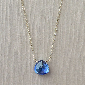 Blue Sapphire Necklace Gold Fill, September Birthstone Jewelry, Push Gift New Baby