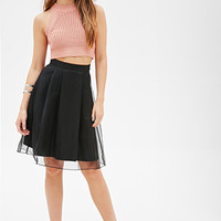 FOREVER 21 Pleated Organza Skirt Black