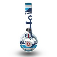 The Vector Navy Anchor with Blue Stripes Skin for the Beats by Dre Mixr Headphones