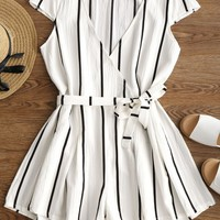 Plunging Neck Striped Belted Romper