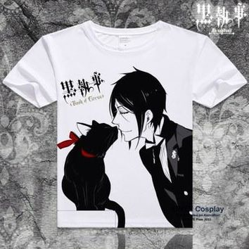 Anime Black Butler Sebastian and Cat T-Shirt