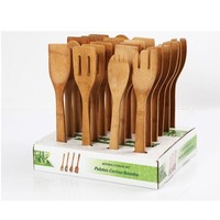 Stylish 6pcs Bamboo Spoon Spatula Wooden Utensil Kitchen Tool in Mesh Bag