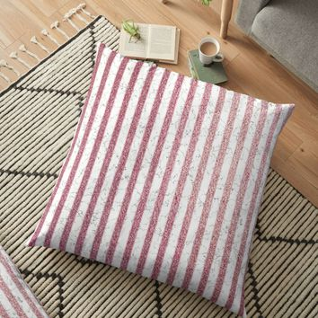 'Marble Rose Gold Stripes Pattern' Floor Pillow by ppanda