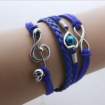 Music to my Heart - Royal Leather Wrap Infinity Bracelet