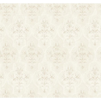 York Wallcoverings RG5007 Fresco Blush, Pearl Beige and Chalk White Moroccan Damask Wallpaper