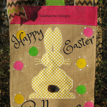 Easter Garden Flag *Personalized Burlap Spring Garden Flag* Burlap Garden Flag