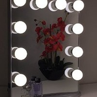 Hollywood Glow Vanity Mirror By Impressions Vanity Large (Glittery Silver) with Dimmer/Clear bulbs