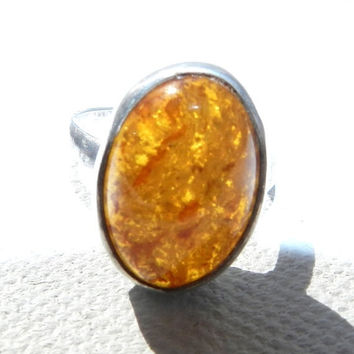 B2SkoolSale--) Signed Ring Minimalist Baltic Amber 925 Sterling Silver Ring Size 8 Vintage Jewelry Jewellery