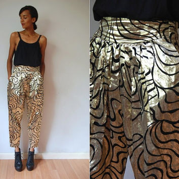 Vtg High Waist Gold & Black Print Shiny Baggy Pants