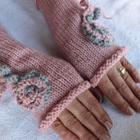Hand Knitted Fingerless Gloves, Female pink gloves , Flower embroidered gloves,Turkish handicrafts, Gift Ideas, For Her, Winter Accessories,