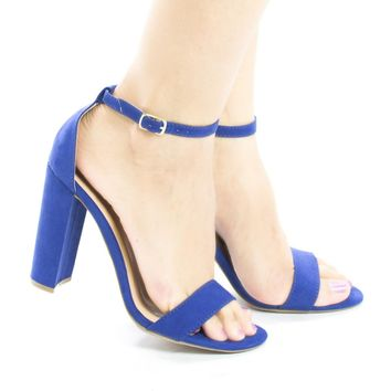Arianna1 Blue By Aquapillar, Classic Open Toe Ankle Cuff Chunky Heel Sandals