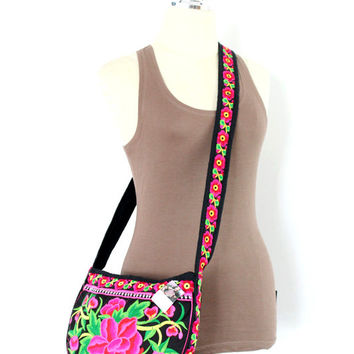 Half Circle Bag Cross-Body Style Flower Embroidered Fabric Handmade Thailand (BG4234-P64)