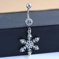 ac ESBO2Q Fashion Women Body Jewelry White Snowflake Rhinestone Diamante Navel Belly Button Ring Punk Piercing Accessories Christmas Gift