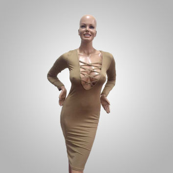 Women's Summer Slim Sexy Hips Cotton Bandage Bodycon Cocktail Elegant Brown Party Dress
