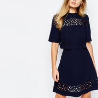 Whistles Laser Cut Skater Dress at asos.com