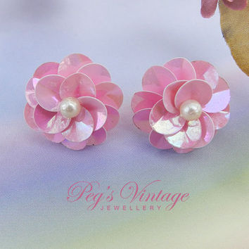 Vintage Pink Sequin Flower Earrings/ Pierced Sequin/Pearl Bridal Earrings