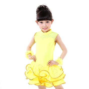 Girls Sleeveless Sequined Latin Competition Dress Children Kids Modern Dance Ballroom Salsa Rumba Tango Samba Cha Cha Costumes