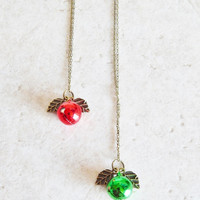 Jingle Bell necklace holiday jewelry hostess gift Christmas Necklace woodland bell unique gift idea under20 stocking stuffer red green