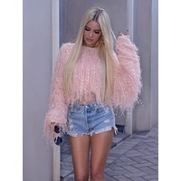 Pink fringy sweater | Boutique