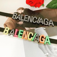 Balenciaga fashion letters set diamond color necklace personality leather collarbone chain