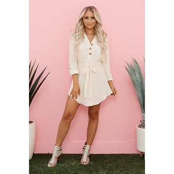 Feeling Myself Shirt Dress (Cream)