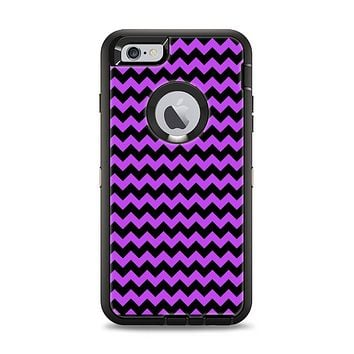 The Black & Purple Chevron Pattern Apple iPhone 6 Plus Otterbox Defender Case Skin Set