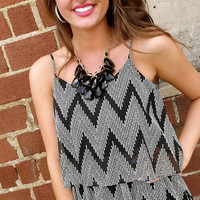 Black & Cream Zig Zag Ruffle Dress