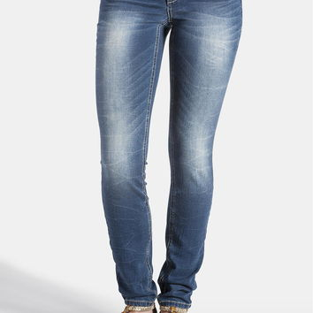 denim flex ™ medium wash jegging with abrasion