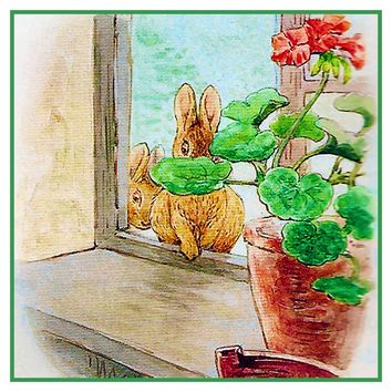 Peter Rabbit Goes in Window inspired by Beatrix Potter Counted Cross Stitch Pattern