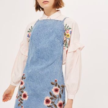MOTO Denim Embroidered Dress