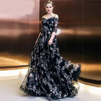 Boat Neck Half Sleeve Black Stars Prints Floor Length Designer Formal Dress