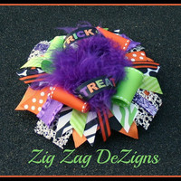 Halloween Trick or Treat Over The Top Boutique Bow with Boa - 6""
