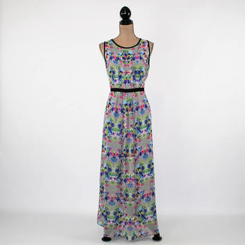 Sleeveless Maxi Dress Women Large Chiffon Floral Long Dress Boho Romantic Summer Dress Size 14 Dress Nicole Miller Womens Clothing