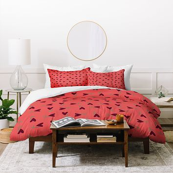 Joy Laforme Flower Hearts Duvet Cover