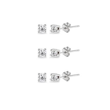 Sterling Silver Cubic Zirconia Set of 3 Round 2mm Stud Earrings