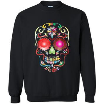 Colorful Sugar Skull  for Mexican Day Of The Dead Printed Crewneck Pullover Sweatshirt
