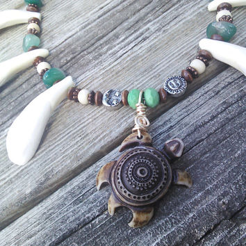 Real Buffalo Tooth Necklace,Buffalo Bone Jewelry, Green Agate Crystal Necklace,Turtle Necklace,Sun Moon Boho necklace,Turtle jewelry