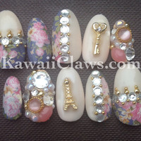 Paris & Roses vintage 3D False/Fake Full cover Nails with Swarovski crystal pearls