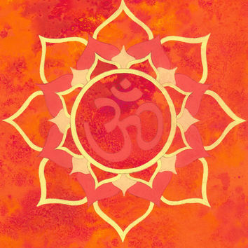 Orange Mandala, Hindu Om, Buddhist Zen art, ORIGINAL Illistration, Meditation Room, Wall Art, 21 cm x 29 cm