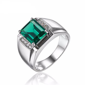 Men's Emerald Wedding Engagement Sterling Solid Silver Ring