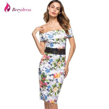 Berydress Sexy Women Cocktail Party Midi Dress Off Shoulder with Sleeves Print Floral Sheath Bodycon Pencil Dress