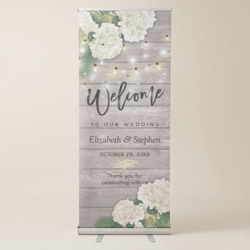 Rustic Wood Floral String Lights Wedding Welcome Retractable Banner