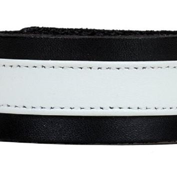 "White on Black Strip Leather Wristband Bracelet Cuff 1-1/4"" Wide"