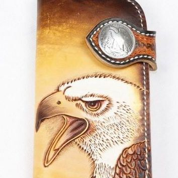 Handmade biker trucker wallet leather chain men eagle carved tooled wallet