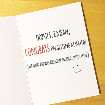 Funny Wedding Congrats Card - Thanks For Having An Open Bar @ The Wedding! Contemporary Wedding Congrats Card. Wedding Congratulations Card.